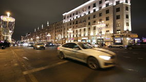 New Year Christmas lighting decoration of the city and night traffic, Tverskaya Street, Moscow. Russia.  stock video