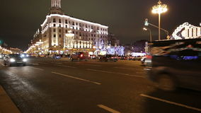 New Year Christmas lighting decoration of the city and night traffic, Tverskaya Street, Moscow. Russia.  stock video footage