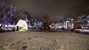 New Year and Christmas lighting decoration of the city, Novopushkinsky Square, Moscow. Russia stock video footage
