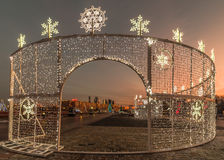 New year and Christmas lighting decoration of the city. Russia, Royalty Free Stock Image