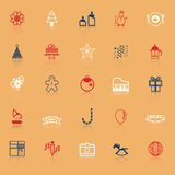 New year and christmas line icons on with reflect Royalty Free Stock Photo