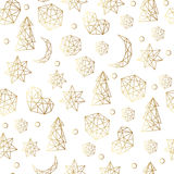 New Year and Christmas luxury gold seamless pattern with stars, balls, noel, moon. Greeting card, invitation, flyer. Stock Images