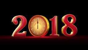 New Year 2018. Christmas. Magic Red and golden numbers on a black background, midnight. Fabulous clock. 3D animation stock video