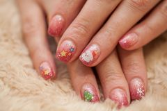 New Year and Christmas manicure stock photos