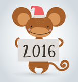 New Year Christmas monkey ape wild cartoon animal. New Year Christmas ape wild cartoon animal holding 2016 board vector cartoon. Wild cartoon monkey. Christmas vector illustration
