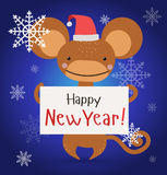 New Year Christmas monkey ape wild cartoon animal. New Year Christmas ape wild cartoon animal holding 2016 board vector cartoon. Wild cartoon monkey. Christmas royalty free illustration