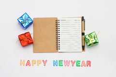 New year and christmas notebook with text. Happy new year Royalty Free Stock Photography