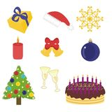 New year and christmas objects Royalty Free Stock Photography