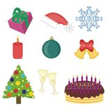 New year and christmas objects Royalty Free Stock Image