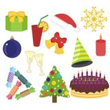 New Year and Christmas objects on white Royalty Free Stock Photo