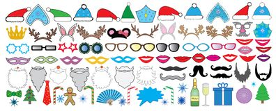 New year Christmas party big set. Photo booth props. Vector. Royalty Free Stock Photography