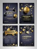 New Year and Christmas party flyer. Merry Christmas and Happy New Year party flyer, brochure, holiday invitation, corporate celebration. Christmas ornaments royalty free illustration