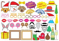 New 2018 year Christmas party set, icons. Vector Royalty Free Stock Images