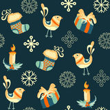 New Year, Christmas Pattern with candles, magical birds, crafts, snowflakes, socks. Royalty Free Stock Photos