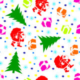 New Year. Christmas pattern with Santa Claus, Christmas trees, gifts and snowflakes. Happy New Year Royalty Free Stock Photo