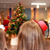 New year or christmas performance. New year or christmas children's performance with tree Stock Photos