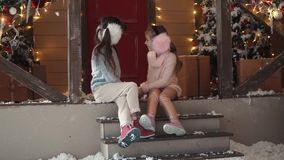 New Year or Christmas. portrait of children on a background of Christmas decoration stock video footage