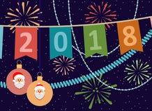 2018. New year or Christmas  postcard. Vector illustration. Stock Photos