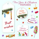 New Year and Christmas Postcards. With watercolor hand drawn elements royalty free illustration