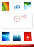 New Year and Christmas poststamps Stock Images