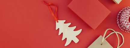 New Year or Christmas presents red background royalty free stock images