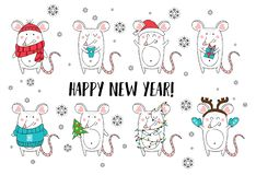 New year and Christmas rat characters.Christmas animals simple illustration for greeting cards, calendars, prints etc. Hand draw vector illustration