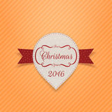 New Year or Christmas realistic Banner with Ribbon. New Year 2016 or Christmas realistic paper white Banner with Ribbon on orange striped Background. Vector Stock Photos