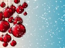 New year christmas red balls vector illustration Stock Images