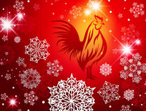 2017 New Year Christmas Red Fire Rooster Background Stock Photos