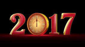 New Year 2017. Christmas. Red and gold figures, midnight.  Fabulous clock. 3D animation stock video