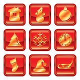 New Year Christmas red gold icon set Stock Photos