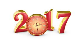 New Year 2017. Christmas. Red numbers and clock, midnight. 3D animation stock video footage