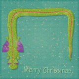 New Year and Christmas Retro Card Design. Retro New Year and Christmas Card Design with Place for Text and Smily Snake Symbol. Illustration Royalty Free Stock Photo