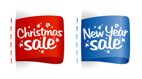 New year and Christmas Sale labels. Royalty Free Stock Photo