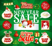 New year and Christmas sale vector designs and stickers stock illustration