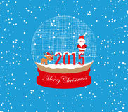 New year and christmas santa claus and deer globe. Background vector illustration