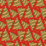 New Year and Christmas seamless pattern. Cartoon vector red wrapping texture. Royalty Free Stock Photos