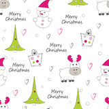 New Year and Christmas seamless pattern with reindeer Royalty Free Stock Photography