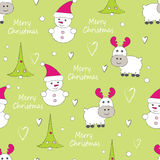 New Year and Christmas seamless pattern with reindeer Stock Images