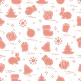 New Year and Christmas seamless pattern. Winter holidays. Design for banner, poster or print Stock Photos