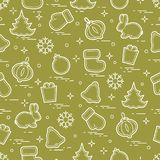 New Year and Christmas seamless pattern. Winter holidays. Design for banner, poster or print Stock Photography
