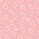 New Year and Christmas seamless pattern. Winter holidays. Design for banner, poster or print Royalty Free Stock Photo