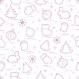 New Year and Christmas seamless pattern. Winter holidays. Design for banner, poster or print Royalty Free Stock Image