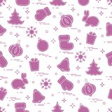 New Year and Christmas seamless pattern. Winter holidays. Design for banner, poster or print Stock Images