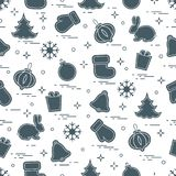 New Year and Christmas seamless pattern. Winter holidays. Design for banner, poster or print Stock Image