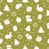 New Year and Christmas seamless pattern. Winter holidays. Design for banner, poster or print Stock Photo