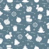 New Year and Christmas seamless pattern. Winter holidays. Design for banner, poster or print Royalty Free Illustration