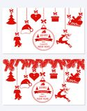 New Year Christmas. Set different hanging ornaments Santa hat, deer, heart, gift, dog and Christmas tree isolated on. White. Congratulatory inscription. Vector Royalty Free Stock Photography
