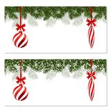 New Year Christmas. Set. Flyer, business cards, postcards. Striped balls and icicles. Green branches of trees in the. Snow. A ribbon with an inscription. vector Stock Images