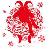 New Year and Christmas sheep. From snowflakes on white background. Vector illustration stock illustration